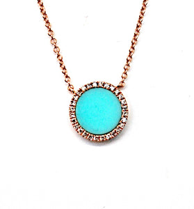 Round Turquoise and Diamond Halo Pendant