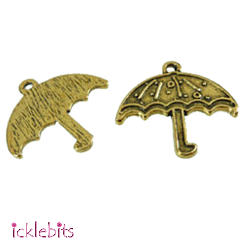 icklebits:Umbrella pendants x 10 - Antique gold coloured