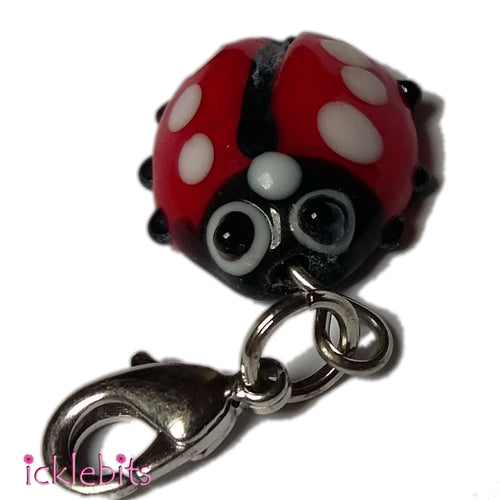 icklebits:Glass Ladybug Pendant/Charm With Clasp