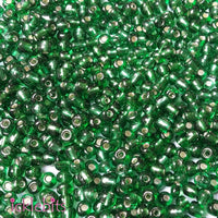 icklebits:50g Green Seed Beads. Size 4mm (6/0)