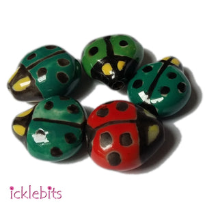 icklebits:Porcelain Ladybird Beads Bag of 5.