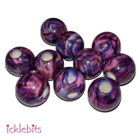icklebits:Purple Round Bead. 14mm (Bag of 10)
