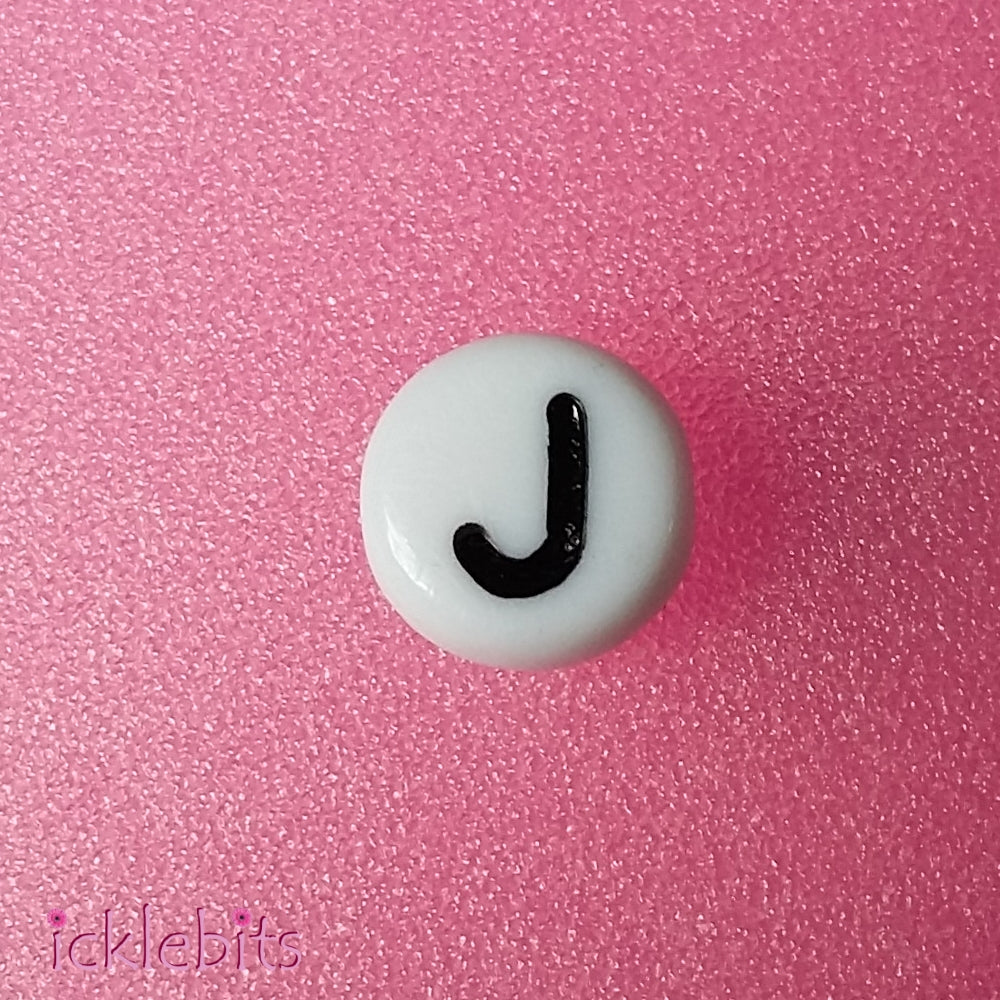 "icklebits:Alphabet Letter Beads White Round. ""J"" Bag of 50"