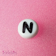 "icklebits:Alphabet Letter Beads White Round. ""N"" Bag of 50"