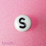 "icklebits:Alphabet Letter Beads White Round. ""S"" Bag of 50"
