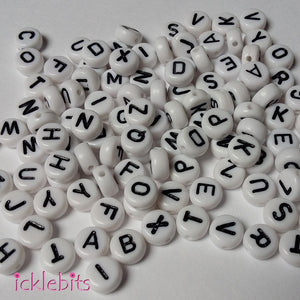icklebits:Alphabet Letter Beads White Round. Mixed bag of 100.