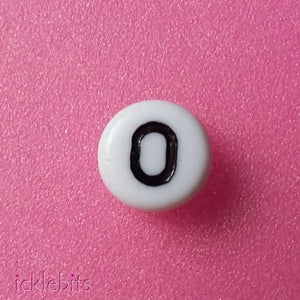 "icklebits:Number Beads White Round. Number ""0"" Bag of 50"