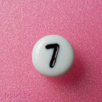 icklebits:Number Beads White Round. Number