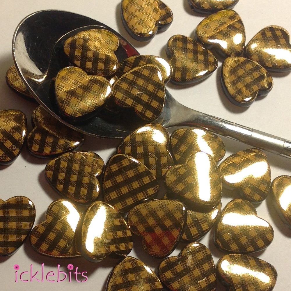 icklebits:Black and Golden Flat Heart Beads