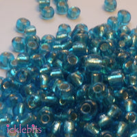 icklebits:50g Light Blue Seed Beads. Size 4mm (6/0)