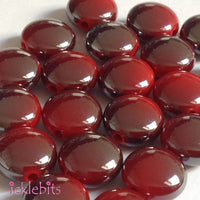icklebits:Red Flat Round Two Tone Smooth Beads
