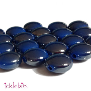 icklebits:Blue Flat Round Two Tone Smooth Beads