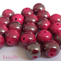 icklebits:Fuchsia Round Two Tone Smooth Beads