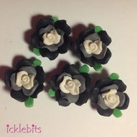 icklebits:Black Fimo Clay Rose Beads
