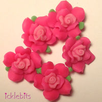 icklebits:Vivid Pink Fimo Clay Rose Beads