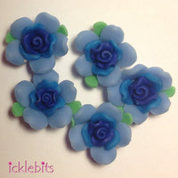 icklebits:Blue Fimo Clay Rose Beads