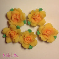 icklebits:Yellow Fimo Clay Rose Beads