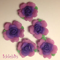 icklebits:Purple and Pink Fimo Clay Rose Beads