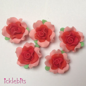 icklebits:Pink and Red Fimo Clay Rose Beads