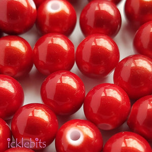 icklebits:Red Round Beads With Lustre - 50g