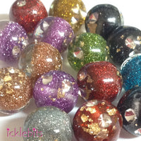 icklebits:Glitter Round Beads With Strass. 16mm