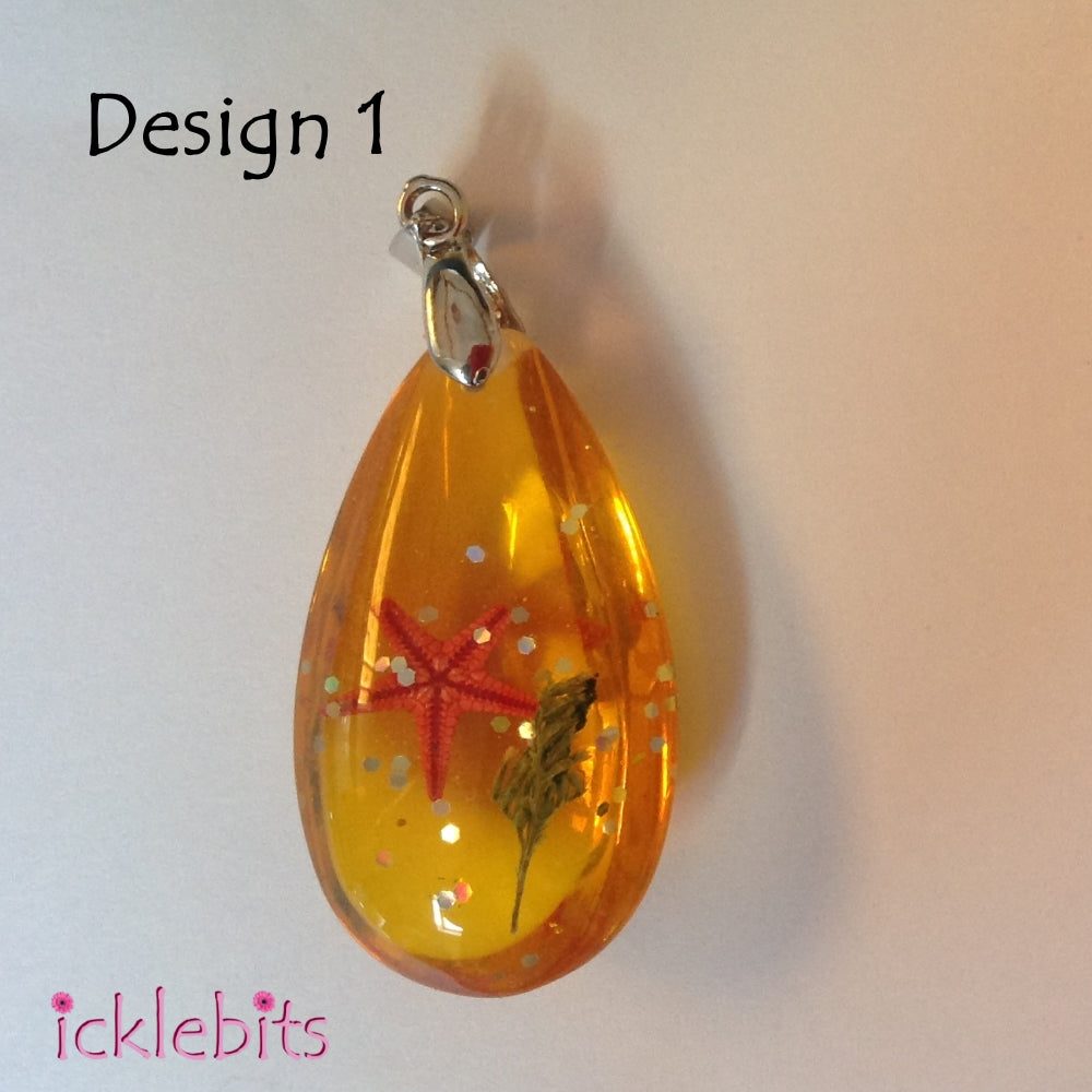 icklebits:Orange/Yellow Drop Pendant With Sea Shells and Glitter,Design 1