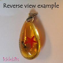 icklebits:Orange/Yellow Drop Pendant With Sea Shells and Glitter