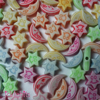 icklebits:Moon and Star Beads Mixed Colour Bag of 100.