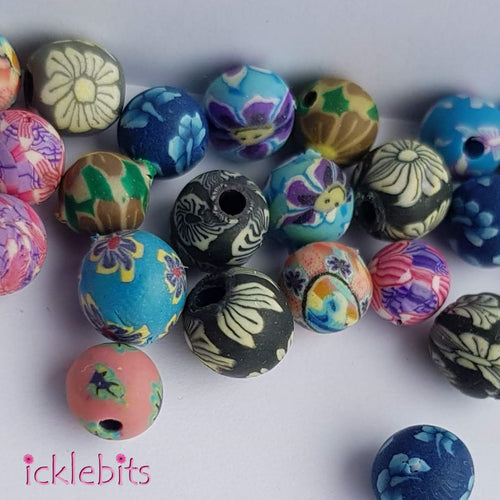 icklebits:Small Mixed Fimo Clay Beads (Bag of 24)