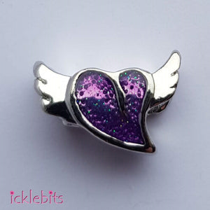 icklebits:Purple Winged Heart European Style Charm Bead