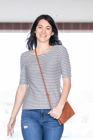 Lena Top - Grey Striped