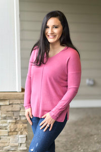 Cathy V-Neck Sweater - Pink - 27 West