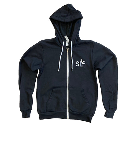 Suite Leaf Black Zip-up Hoodie (Unisex)