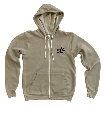 Suite Leaf Gray Zip-up Hoodie (Unisex)