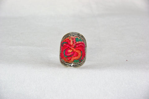 Oval Embroidered Ring