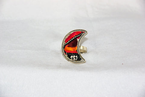 Half-Moon Embroidered Ring