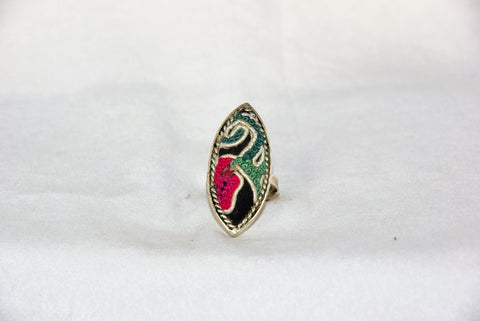 Eye-Shaped Embroidered Ring