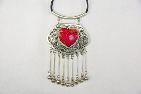 Pendant - Heart-shaped embroidery patch and double phoenix with bells