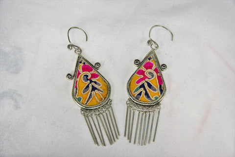 Tear-drop shaped with scrolls medium earrings with dangles