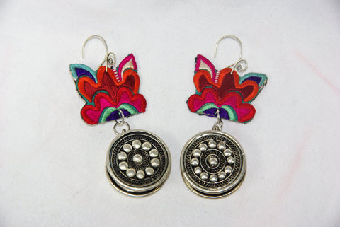 Earrings - Extra large - Embroidered floral pattern with large ornate dangling wheel