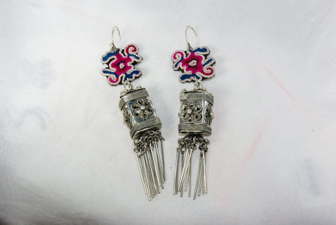 Earrings - Extra large - Embroidered floral pattern with large ornate lantern and dangles