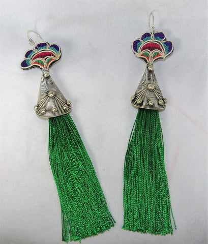 Earrings - Extra large - Embroidered tribal pattern with circle charm extra long tassles