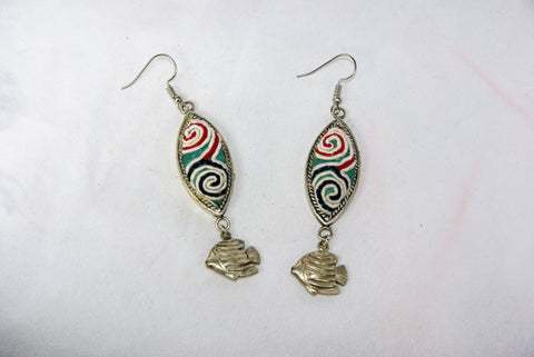 Eye-Shaped small earrings with tribal charm