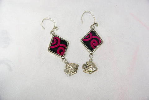 Diamond Shaped small earrings with fish charm