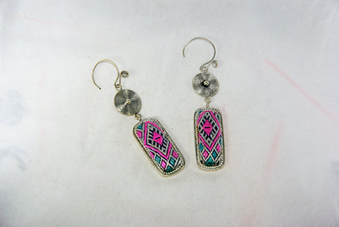 Long Rectangular small earrings with tribal charm reversed