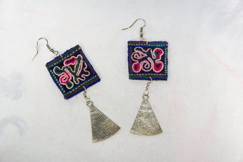 Earrings Large - Square patch embroidery and triangular dangles