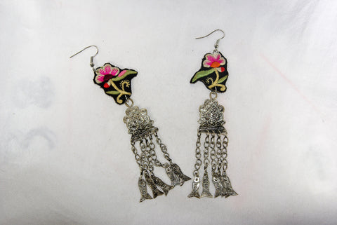 Earrings Large - Embroidered floral pattern and emblem and dangling fish