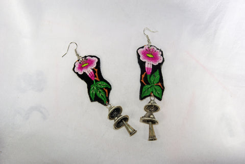 Earrings Large - Embroidered floral pattern and emblem and dangling cones
