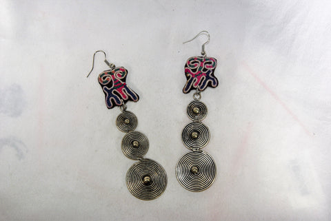 Earrings Large - Embroidered tribal/spiral patch and dangling spiral charm
