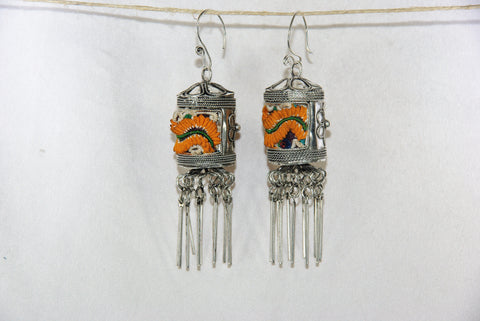 Earrings Large - Prayer wheel with embroidery patch